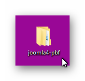 Desktop folder with the unzipped zip file